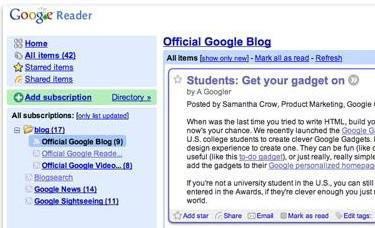 Google Reader New Look & Features for the RSS Reader from Google