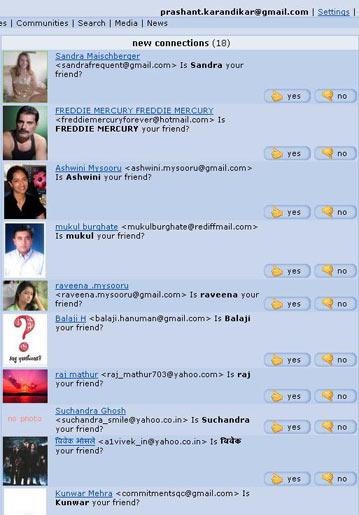 Orkut friend requests